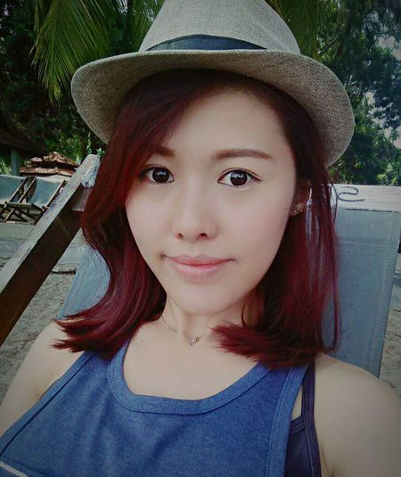 ThatsMe Short Hair Red Purple Hair Summertime Sun Beach Day Shinny Day Peace Of Mind Selfie ♥ The moment when I Missing You Pangkor Blue Sea Malaysia