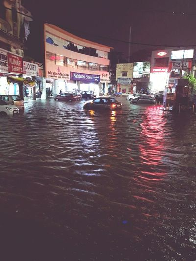 Flooded Streets Hyderabad,India Night No People City Illuminated Outdoors Architecture Building Exterior