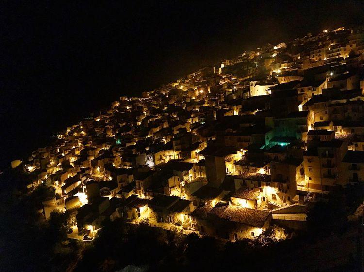 Night Illuminated Architecture No People Building Exterior Prizzi City Houses Case Like4like Luci Bright Dark Black