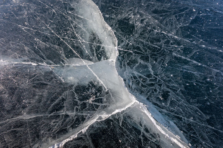 Close-up of frozen lake