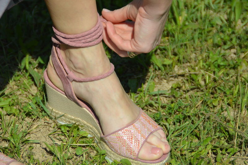 Close-up Field Grass Human Body Part Human Foot Human Leg Lifestyles Low Section One Person Real People Shoe Woman