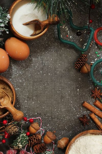 Christmas baking ingredients top view Christmas Copy Space Sugar Xmas Background Baking Ingredients Cinnamon Sticks Close-up Eggs First Eyeem Photo Flour Food High Angle View Indoors  No People Ornaments