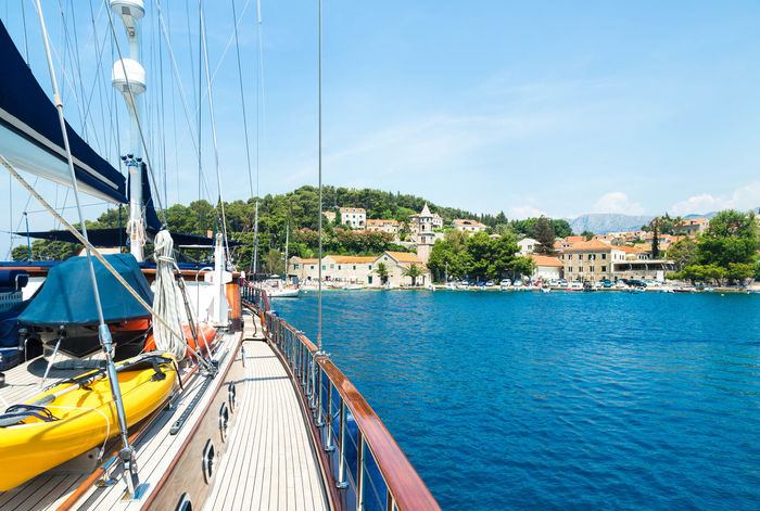 A view from a sailing yacht at Cavtat, Croatia Adriatic Sea Architecture Beautiful Blue Cavtat  Croatia Family Vacation Holiday Luxury Life Mega Yacht Motor Yacht Nature Sailing Yacht Sea Sky Speed Summer Tourism Tourist Travel Travel Destinations Vacation Yacht Yachting Life Yachts