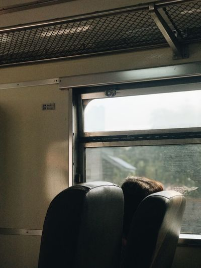 Rear view of man in train