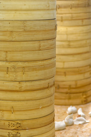 Bamboo Steamers Chinese Food Taiwanese Food Bamboo Steamer Chef Chefs Close-up Commercial Kitchen Commercial Kitchens Day Dim Sum Din Tai Fung Dumpling  Dumpling Skin Dumplings Food Food And Drink Food Preparation Freshness Indoors  Kitchen Nature No People Steamed Dumplings Wood - Material
