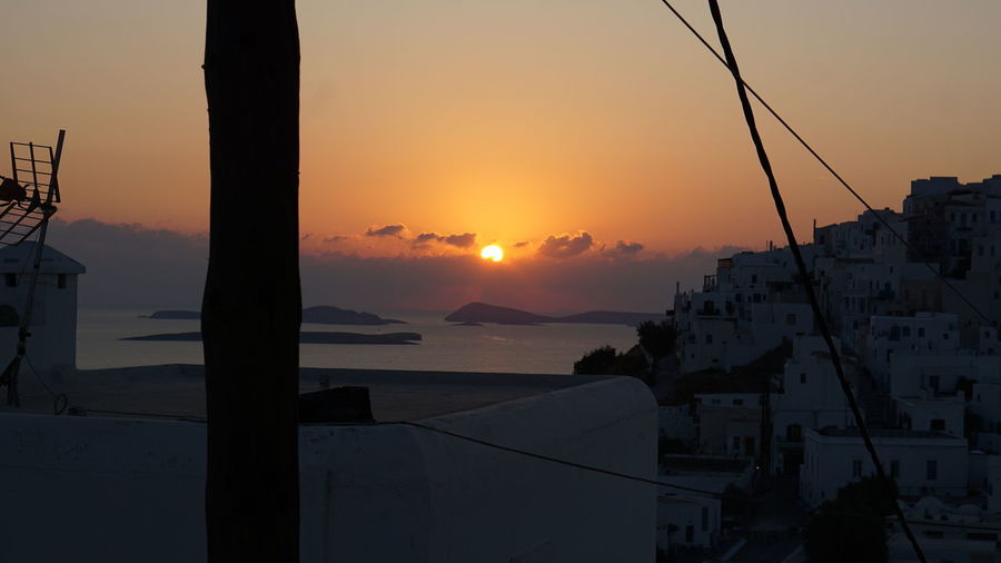 Sunset Sky Architecture Building Exterior Built Structure Orange Color Sun Nature Building Beauty In Nature Water Scenics - Nature No People City Mountain Residential District Outdoors Sea Town GREECE ♥♥ Greek Islands Astipalaia