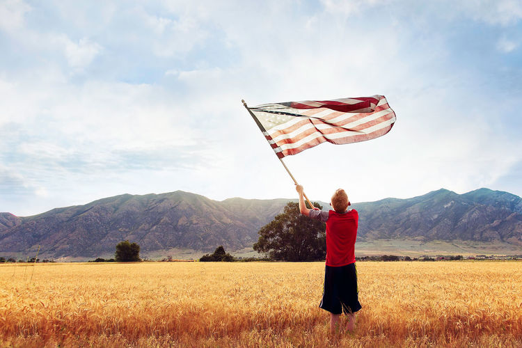 Amber Waves Of Grain America The Beautiful Beauty In Nature Classic Cloud Cloud - Sky Field Flag, United States Idyllic Landscape Landscape_Collection Landscape_photography Morning Mountain Mountain Range Mountians Nature Outdoors Rural Scene Scenics Sky Space Tranquil Scene Tranquility Wheat Field