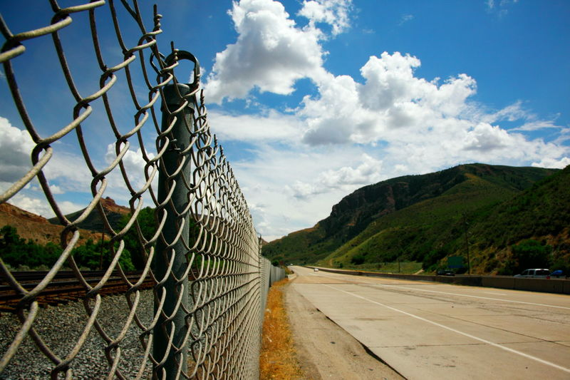 America Beautiful Day Blue Sky Canyon Clouds And Sky Daytime Fence Fences Green Highway Landscape Mountains Nature Ogden Road Summer Train Tracks Travel United States Utah Wasatch Mountains