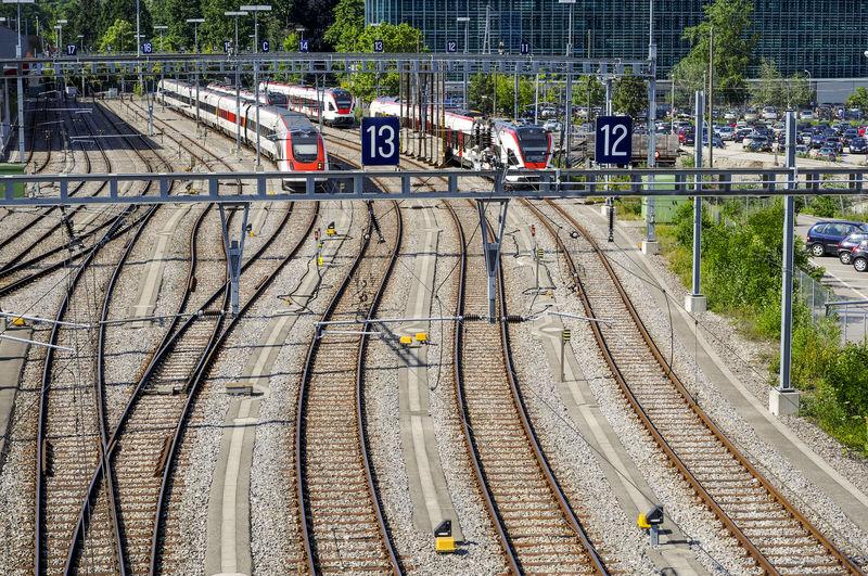 Railway tracks from a high angle taken in Geneva, Geneva Electricity Wires High Angle View Public Transportation Rail Transportation Railway Tracks Swiss Switzerland Switzerland❤️ Train Transportation