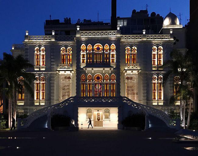 Sursock Museum Architecture Art Castle Luxury Beirut Lebanon Illuminated Building Exterior Culture Exhibition Symmetry Façade