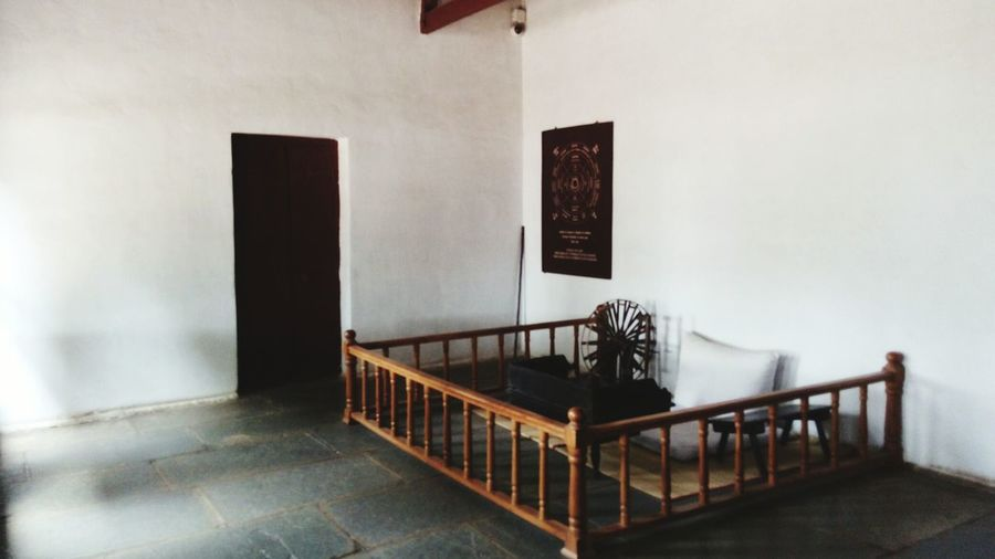 Mahatma Gandhi's room EyeEm Selects Architecture Railing Indoors  No People Staircase Seat Day Arts Culture And Entertainment Art And Craft Wall - Building Feature Built Structure Steps And Staircases Absence Luxury Furniture Table Building Domestic Life