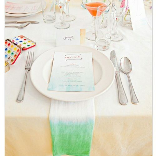 Warning. This Watercolour table setting may bring out the kid in you >___<...Happy St. Patty's Day! ♧♧♧ @mikkelpaige photography SummerRaineDesigns Stationery RoeyMizrahiEvents NY @weddingchicks @ici_brooklyn Wedding Weddingshoot Etsy Textiles Napkins Linens Events JacandJil Handmade Green