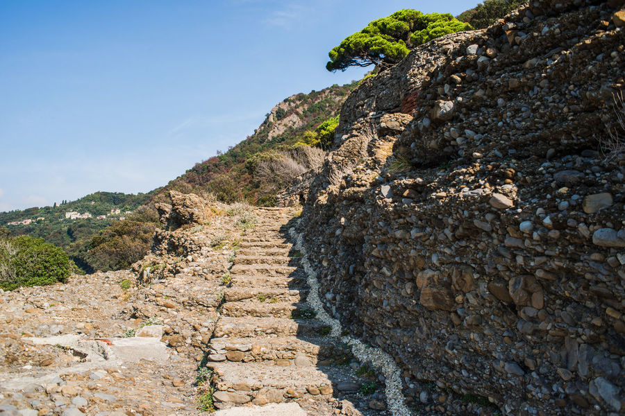 Hinking Rock Formation Stairs Steps Travel Adventure Beauty In Nature Day Liguria Mountain Nature No People Outdoors Punta Chiappa Rock - Object Scenics Sky Tourism Tranquility Tree