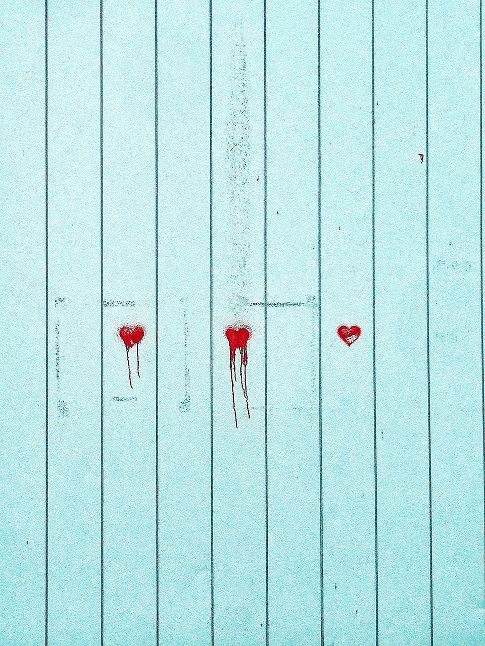 Heart Shapes On Wooden Door