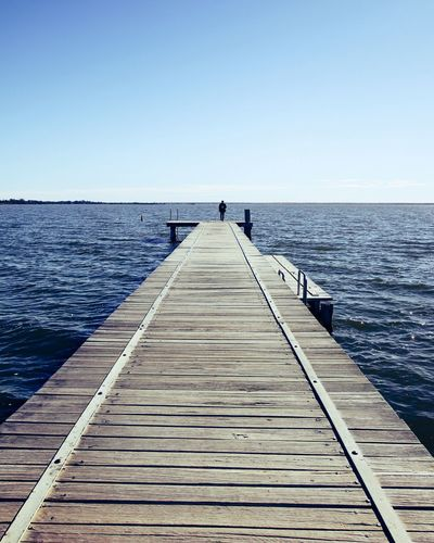 Lake Lake View Tranquility Water Clear Sky Sea Full Length Beach Dog Summer Pets Wood - Material Boardwalk Seascape Horizon Over Water Tranquil Scene Ocean Wave Tide