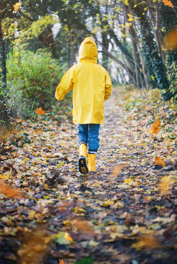 Rear view of girl walking on autumn leaves