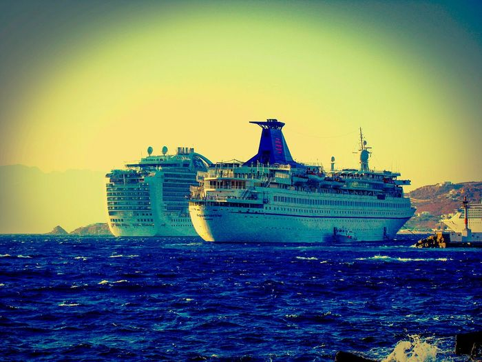 Showcase March Cruise Ships in the Port of Mykonos Cruising Summer Memories 🌄 Summer Views Greek Islands No People Shades Of Blue The Best From Holiday POV Island Cruise Ship Endless Blue Sea Blue Sea Q Quality Holidays Blue Wave