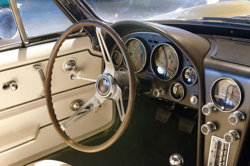 Car Car Interior Close-up Cockpit Collector's Car Control Panel Corvette Corvette C2 Corvette Sting Ray Corvette Stingray Chevy Classic Vintage Sports Car Transportation Dashboard Land Vehicle Luxury No People Old-fashioned Speedometer Steering Wheel Transportation Vehicle Interior
