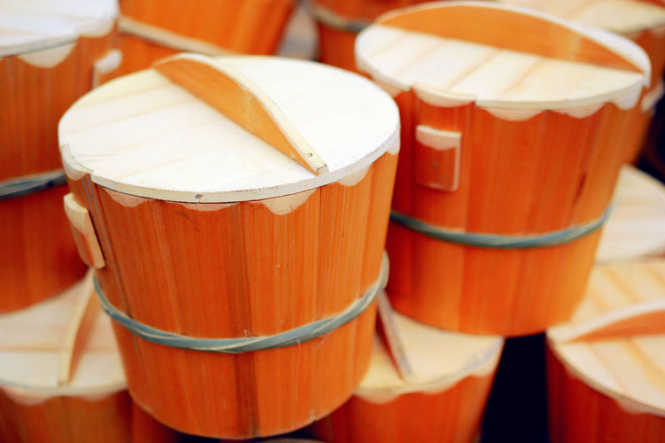 Close-up of containers