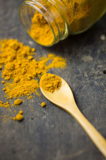 turmeric Indian Natural Orange Spoon Turmeric Powder Close-up Day Food Food And Drink Freshness Healthy Eating Indoors  Ingredient Macro No People Orange Color Organic Oriental Selective Focus Spice Still Life Table Talcum Powder Turmeric  Yellow