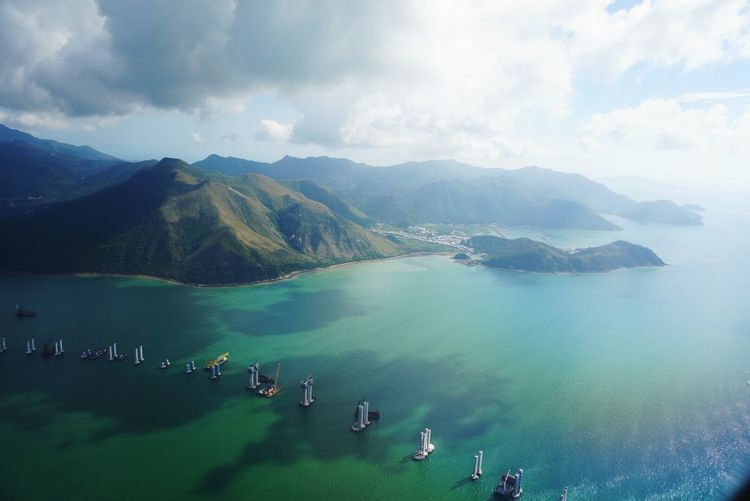 Hong Kong Sea And Sky Bird Eyes View Island Landscape