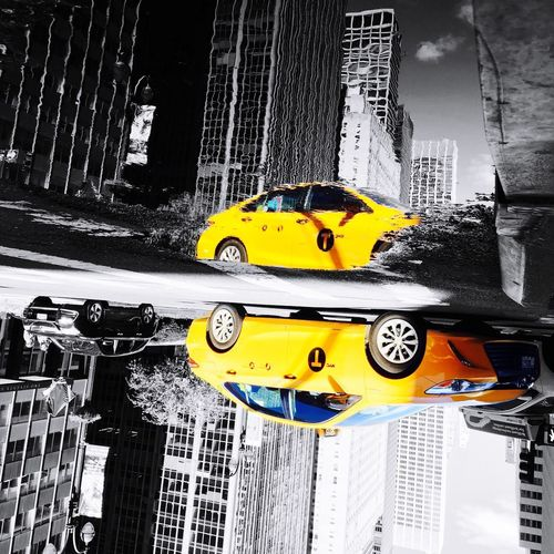 New York Yellow taxi in Reflection Street New York City Life Opposite View Photoshoot EyeEmNewHere Streetphotography Streetstyle New York ❤ Part Color Blackandwhite Colorful Life Financial District  Midtown Photooftheday Photography New York City Photos Reflection_collection Reflection IPhoneography Park Ave After The Rain Reflection Manhattan Yellow Taxi Taxi Car Transportation Yellow Mode Of Transport Land Vehicle