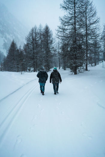 Two people hiking in snow in mountains Winter Covering Two People White Color Lifestyles Plant Beauty In Nature Land Walking Day Full Length Warm Clothing Clothing Extreme Weather Snowing Hike Outdoors Forest Snow Cold Temperature Nature Tree Rear View Real People