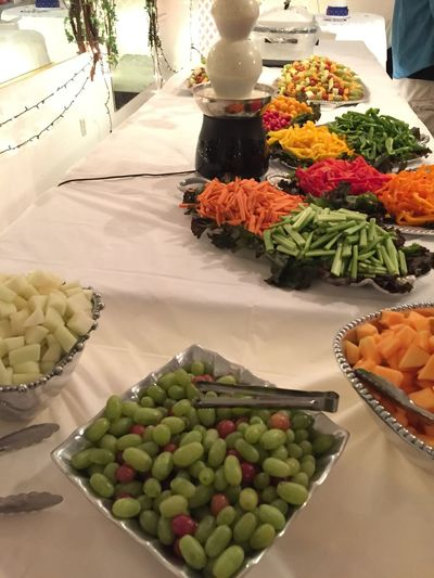Wedding caterers don't get paid enough, just saying'. 8 honeydew, 12 cantaloupe, 21 peppers, 10 lbs of carrots, 5 lbs of celery and 18 lbs of grapes. We also served up 2 each roaster pans full of meatballs & chicken wings.
