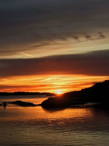Sunset Beauty In Nature Silhouette Orange Color Scenics Water Sea Nature Dramatic Sky Sky Cloud - Sky Tranquil Scene Tranquility Reflection No People Outdoors Waterfront Horizon Over Water Day Swedish Photografer Swedish Nature Gothenburg, Sweden Swedish Archipelago Archiepelago