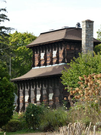 Architecture Architecture Wooden House Wood Built Structure Linear Building Exterior Unusual Pattern Outdoors Growth No People Garden Park Stamford Connecticut USA Tree Hydrangea Roses