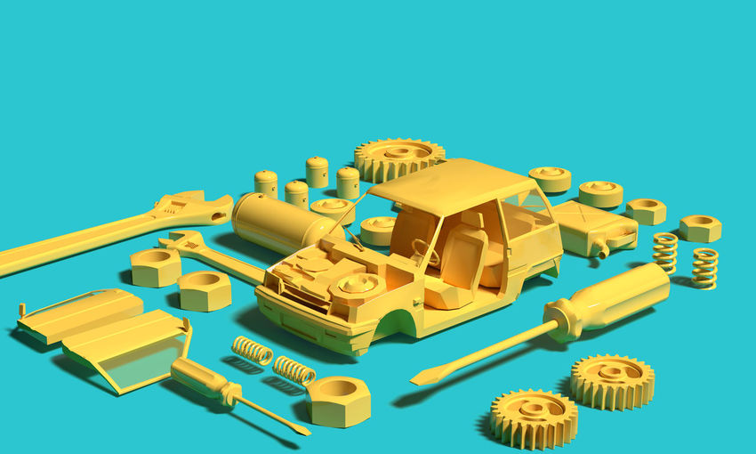 High angle view of toys against blue background