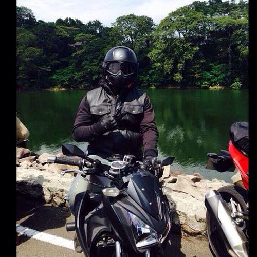 Kawasaki Z250 Kawasakiz250 Kawi kawination zriders z250blackv6 streetfighter nakedbike shark sharkraw soyouz jatiluhur dam reservoir val 2014 iphone5
