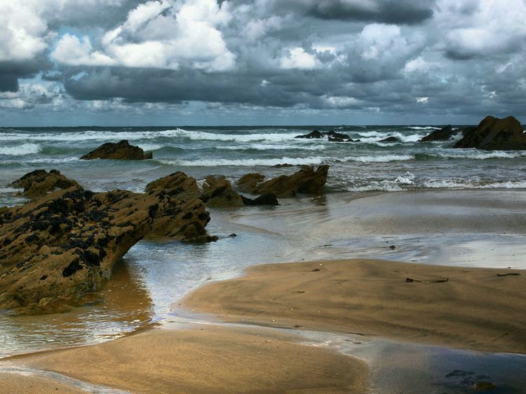 Fistral Beach Newquay Cornwall Beach Rocks Sand Sea Sky Sea And Sky Sky And Clouds Moody Sky Surf BeachEarly Morning Before The Crowd Comes