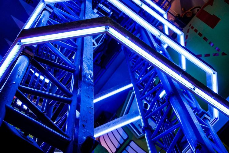 Low Angle View Architecture Built Structure Steps And Staircases Staircase No People Blue Day Illuminated Indoors  Neon Japan