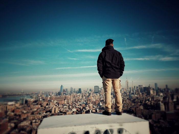 Man looking at el salvador cityscape