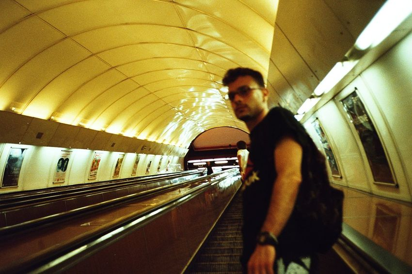Analogue Photography Film Photography Kodak Men Illuminated City Subway Station Architecture Subway Platform Subway Underground Stairway Tunnel Escalator Underground Walkway Ceiling Light  Underpass