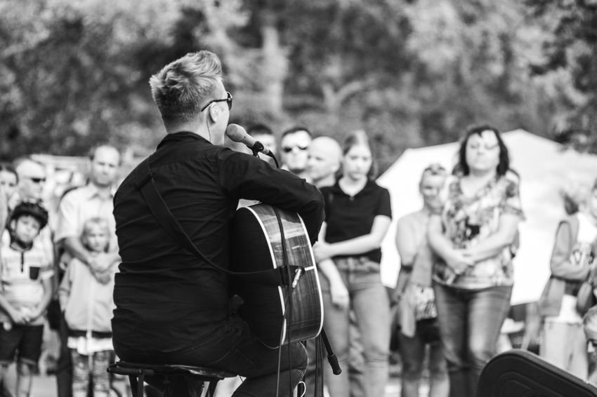 Black & White FUJIFILM X-T10 Adult Backstage Acoustic Black And White Black And White Friday Concert Day Focus On Foreground Fujifilm Guitar Leisure Activity Lifestyles Men Outdoors People Performance Real People Standing Women Young Adult