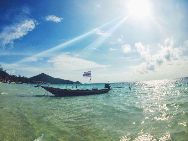 Taxi boat at Sairee beach. Thailand Koh Tao Water Sea Boat Tourism Beauty In Nature Seascape