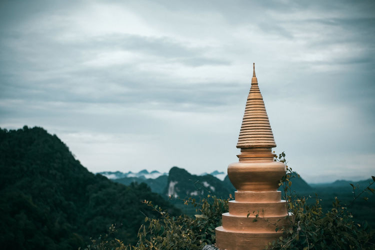 View of pagoda against cloudy sky