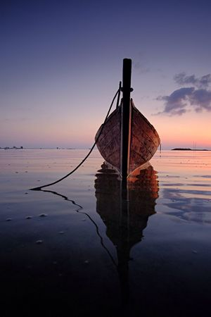 Canoe Enjoying The Sun Sunrise Canoe Traditional Fishing INDONESIA Batam