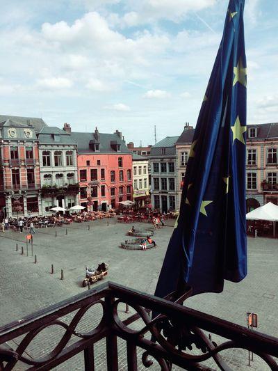 Architecture Belgium Building Exterior Built Structure City Flag Grand Place Mons Outdoors Sky