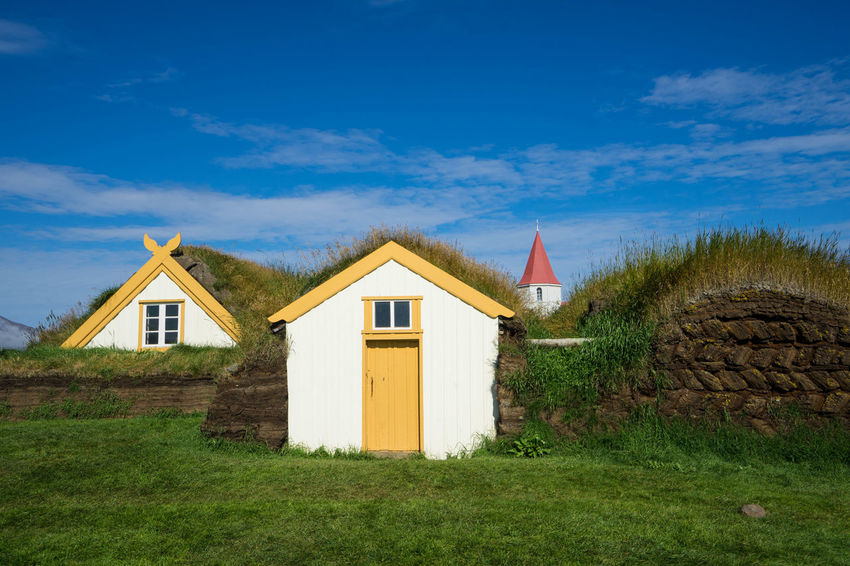 Iceland Iceland Trip Islanda Skagafjörður Icelandic House Nature Outdoors Rural Scene Green Color No People Building Exterior Built Structure