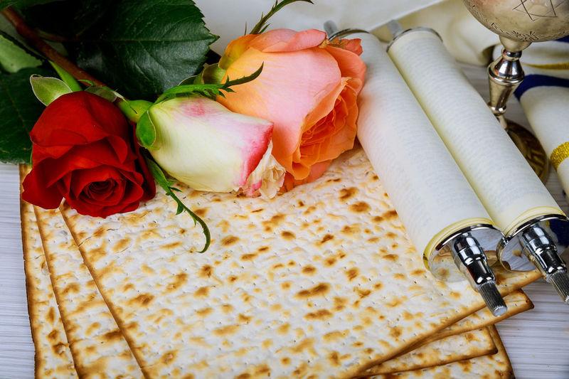 Pesah celebration concept jewish Spring holiday of Passover, traditional book with text in hebrew: Passover Haggadah Passover Tale Passover Talith Matza Matzah, Pessah Prayer Prayer Shawl Religious Celebration Shofar