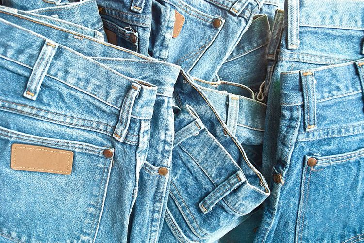 Full frame shot of jeans for sale at market stall