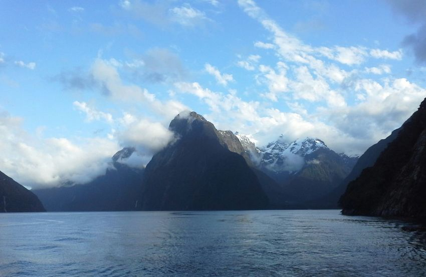 Beautiful Milford Sound NZ Motre Peak Beauty In Nature Cloud Cloud - Sky Cloudy Day Idyllic Lake Landscape Majestic Milford Sound Mountain Mountain Range Nature No People The Great Outdoors - 2016 EyeEm AwardsOutdoors Physical Geography Remote Scenics Sky Tranquil Scene Tranquility Water Waterfront Weather