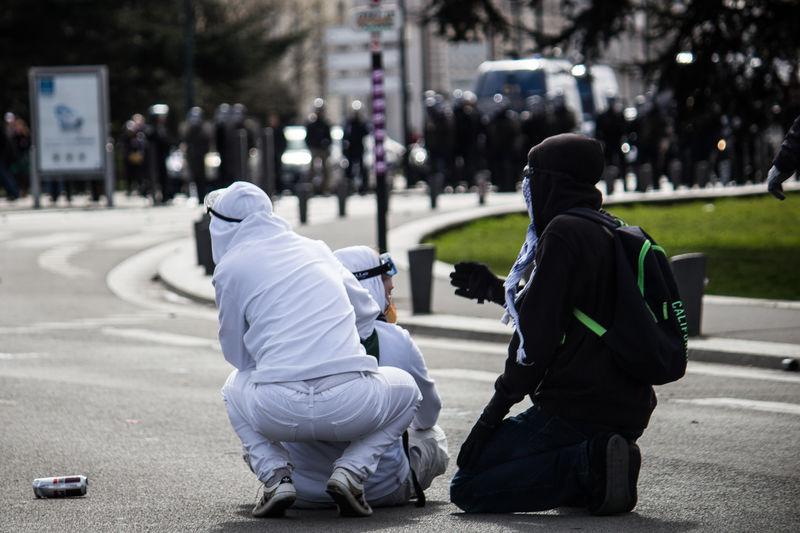 Protestors On Street In City