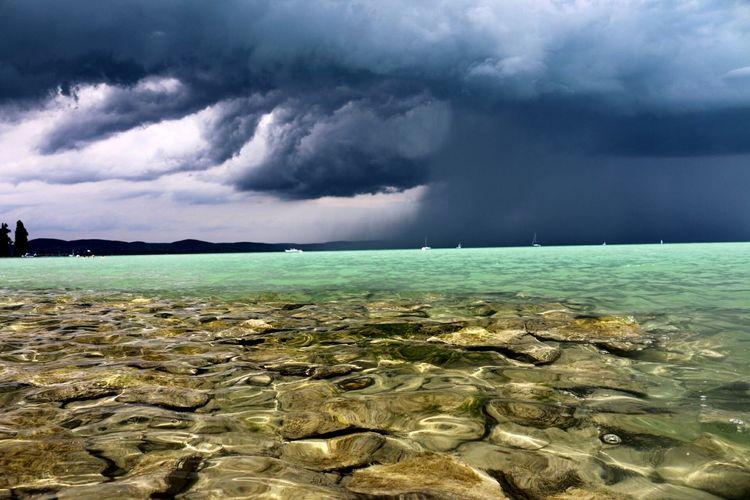 Beach Sea Balaton - Hungary Dramatic Sky Beauty In Nature Tihany-Hungary Outdoors Nature Water Sky Day