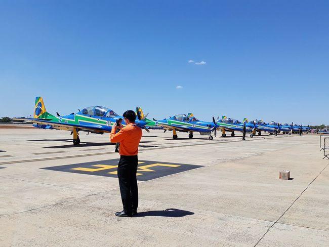 Airport Air Base Aeroplane Full Length Clear Sky Sand Blue Men Summer Crowd Sky