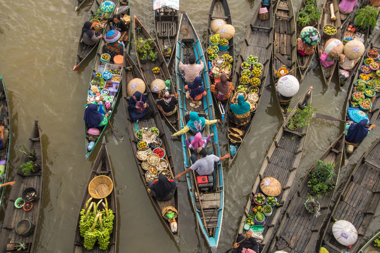 High angle view of people in floating market
