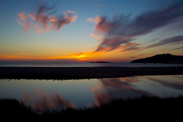 Sunset Scenics Sky Silhouette Water Reflection Tranquil Scene